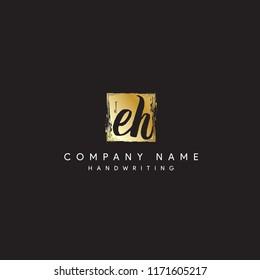 EH signature logo designs or Square EH logo vector mark