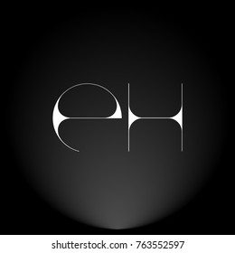 EH White thin minimalist LOGO Design with Highlight on Black Background.
