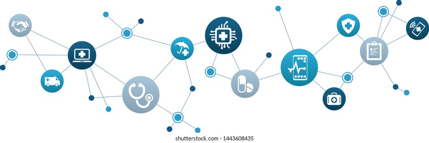 e-health, electronic health records, healthcare information systems icons concept, vector illustration