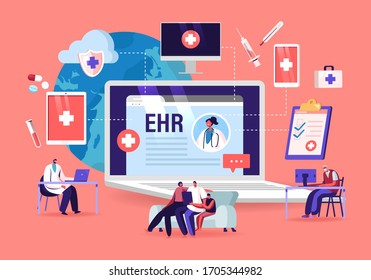 EHR, Electronic Health Record. Patient Character Insert Medical Data in Tablet. Doctor Use Digital Smart Device to Read Report Online. Modern Technology in Hospital. Cartoon Vector People Illustration