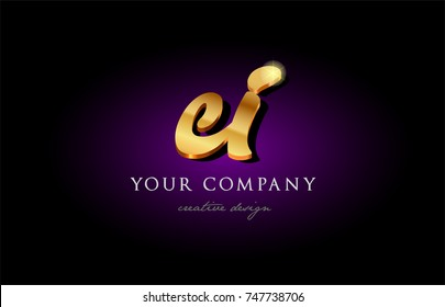 ei e i  alphabet combination letter logo in gold golden 3d metal beautiful typography suitable for banner brochure design