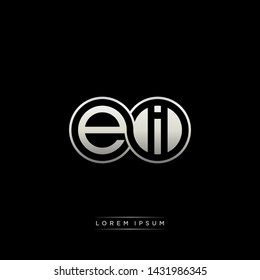 EI E I initial letter linked circle capital monogram logo modern template silver color edition
