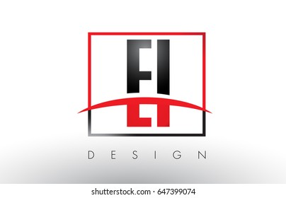 EI E I Logo Letters with Red and Black Colors and Swoosh. Creative Letter Design Vector.