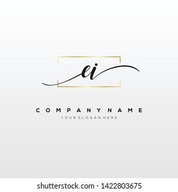 EI handwriting initial logo template vector.