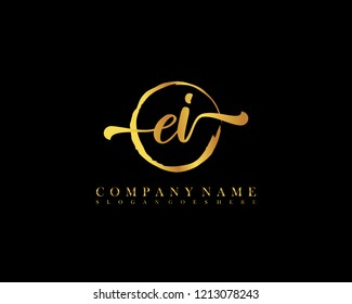 EI initial handwriting logo circle template vector