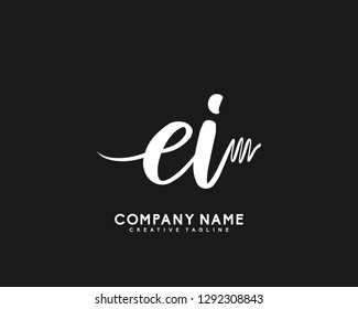 EI Initial Handwriting Logo Template Vector