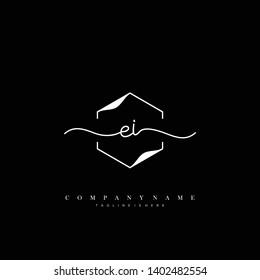 EI initial handwriting logo template vector