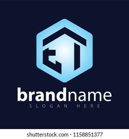 EI Initial letter hexagonal logo vector