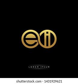EI initial letter linked circle capital monogram logo modern template