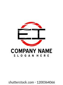 EI  Initial logo with circle template vector