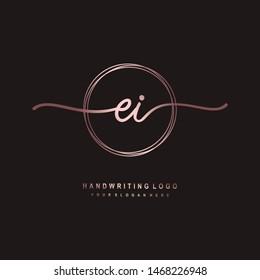 EI initial signature logo. handwriting logo template vector,