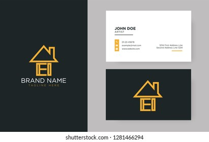 EI Letter Real Estate Logo Design - Real estate logo