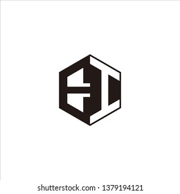 EI Logo Initial Monogram Negative Space Designs Templete with Black color and White Background