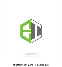 EI Logo Initial Monogram Negative Space Design Template With Green and Grey Color - Vector EPS 10
