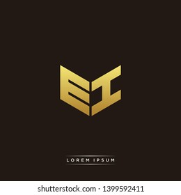 EI Logo Letter Initial Logo Designs Templete with Gold and Black Background