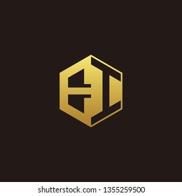 EI Logo Monogram with Negative space gold colors