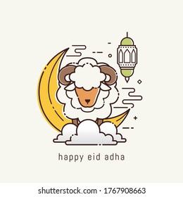 Eid adha mubarak arabic calligraphy greeting card. the Arabic calligraphy means (Happy eid adha). Vector illustration for the celebration of eid mubarak with line art design