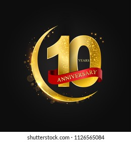 Eid al Adha 10 years aniversary.Pattern with arabic golden, gold half moon and glitter.Vector illustration of greeting cards, covers, prints.