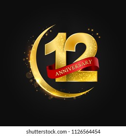 Eid al Adha 12 years anniversary.Pattern with arabic golden, gold half moon and glitter.Vector illustration of greeting cards, covers, prints.