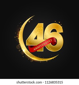 Eid al Adha 46 years anniversary.Pattern with arabic golden, gold half moon and glitter.Vector illustration of greeting cards, covers, prints.
