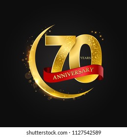 Eid al Adha 70 years anniversary.Pattern with arabic golden, gold half moon and glitter.Vector illustration of greeting cards, covers, prints.