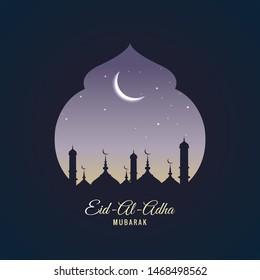 Eid Al Adha celebration card background vector