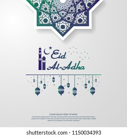 Eid al Adha or Fitr Mubarak islamic greeting card design. abstract mandala with pattern ornament and hanging lantern element. background Vector illustration.