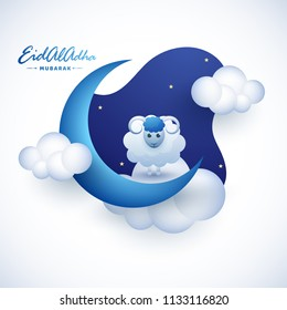 Eid Al Adha greeting card design with illustration of sheep, crescent moon, cloud on night view frame for Muslim Festival celebration concept.