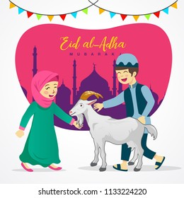 Eid al Adha greeting card. Cute cartoon muslim kids holding a goat for sacrifice with mosque as background. vector illustration
