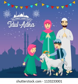 Eid al Adha greeting card. cartoon muslim family celebrating Eid al Adha with stars and mosque as background. vector illustration