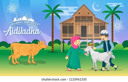 Eid al Adha greeting card. cartoon muslim kids celebrating Eid al Adha with goat, cow, and traditional malay village house / Kampung, as background.