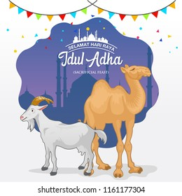 Eid al Adha greeting card (sacrificial feast). cartoon goat and camel with mosque as background