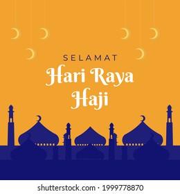 Eid al Adha greetings with goat. selamat hari raya Idul Adha translates to Eid al Adha mubarak. Hari Raya Haji. social media post