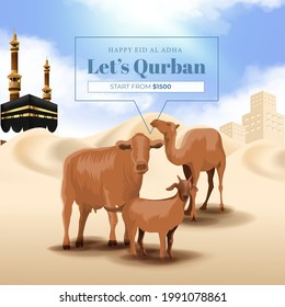 Eid al adha Mubarak or Animal Sacrifice Month or Qurban  Background with Goat, Cow and Camel Illustration. Qurban is Indonesian and Arabian Languange for Animal Sacrfice in Islamic Pilgrimage Month,