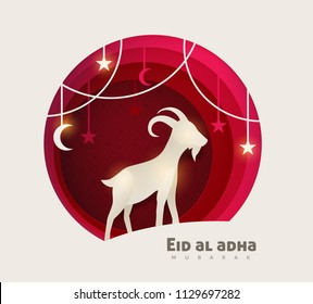 Eid Al Adha Mubarak the celebration of Muslim community festival background design with goat and star paper cut style.Vector Illustration