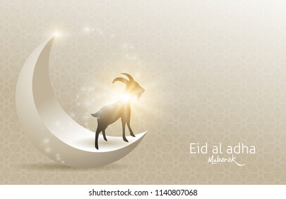 Eid Al Adha Mubarak the celebration of Muslim community festival background design with goat and moon.Vector Illustration