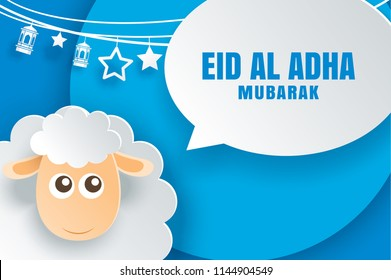 Eid Al Adha Mubarak celebration card with sheep and bubble speech in paper art blue background. Use for banner, poster, flyer, brochure sale template.