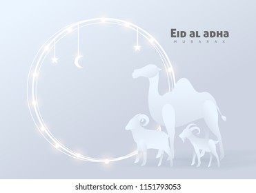 Eid Al Adha Mubarak the celebration of Muslim community festival background design with camel sheep and goat paper cut style.Glowing lights Vector Illustration