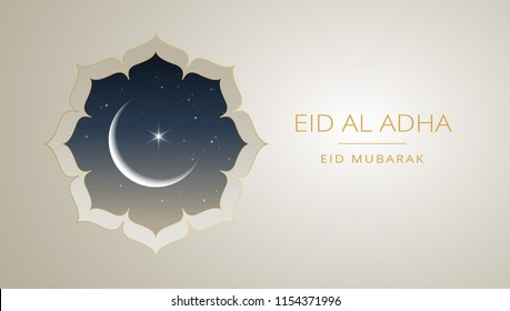 Eid Al Adha Mubarak gold greeting card vector design - islamic beautiful background with moon and golden text - Eid Al Adha, Eid Mubarak. Islamic illustration for muslim community festival celebration