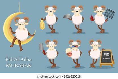 Eid al Adha Mubarak greeting card with funny ram, set of seven poses. Traditional Muslim holiday. Vector illustration