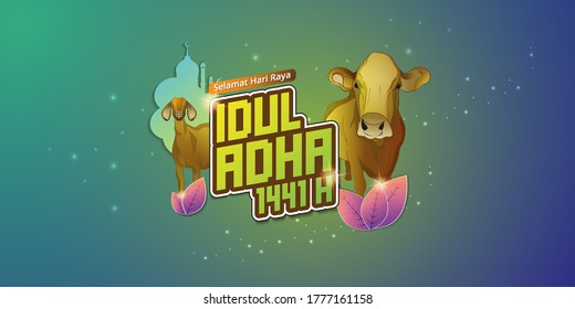 Eid al adha mubarak or Hari Raya Idul Adha in indonesian language background with goat and cow Vector Illustration