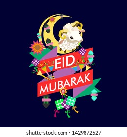eid al adha mubarak has mean muslim event with sheep illustration vector, beautiful greeting card, logo event, poster, banner for muslim event