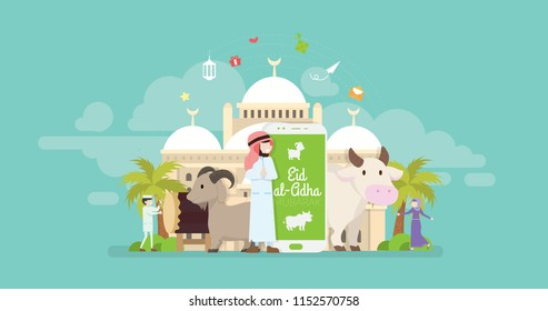 Eid Al Adha Mubarak Online Greeting Card Tiny People Character Concept Vector Illustration, Suitable For Wallpaper, Banner, Background, Card, Book Illustration, And Web Landing Page