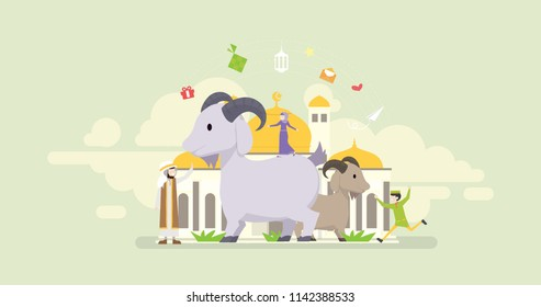 Eid Al Adha Mubarak Tiny People Character Concept Vector Illustration, Suitable For Wallpaper, Banner, Background, Card, Book Illustration, And Web Landing Page