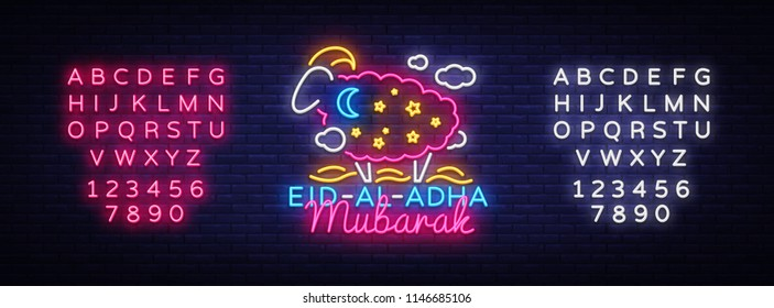 Eid Al Adha Mubarak Vector illustration for the celebration of Muslim community festival. Neon Style, Eid al-Adha. the sacrifice a ram, trendy modern graphic design. Editing text neon sign