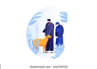 Eid Al Adha Qurban Festival People Concept Vector Illustration, Suitable for landing page, ui, web, mobile app intro card, editorial print, flyer, and banner