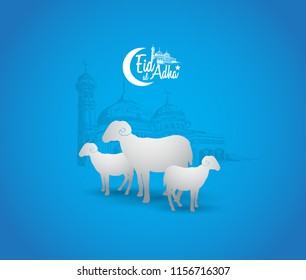 eid al adha ramadan design with mosque and sheep isolated on blue background. islamic design for ramadan purpose
