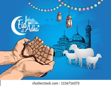 eid al adha ramadan design with hand praying, mosque, lantern and sheep isolated on blue background. islamic design for ramadan purpose