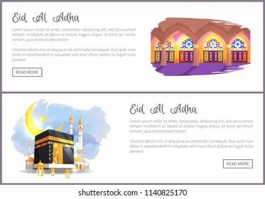 Eid Al Adha religious holiday web banners. Place to pray internal and external views. Muslim sacred architecture on online promo vector illustrations.
