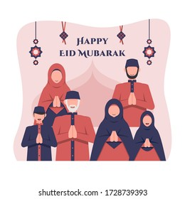 Eid al fitr background with big muslim family members and islamic ornaments. Eid mubarak greetings. Flat style vector illustration for greeting card, poster, and banner.